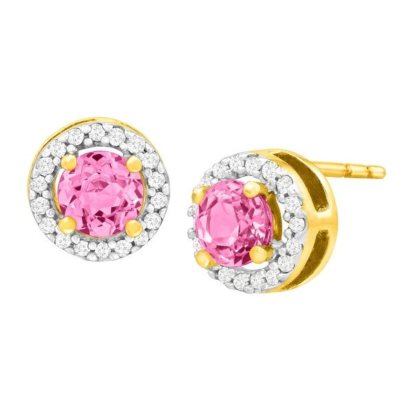 5/8 ct Created Pink Sapphire & 1/10 ct Diamond Stud Earrings in 10K Gold