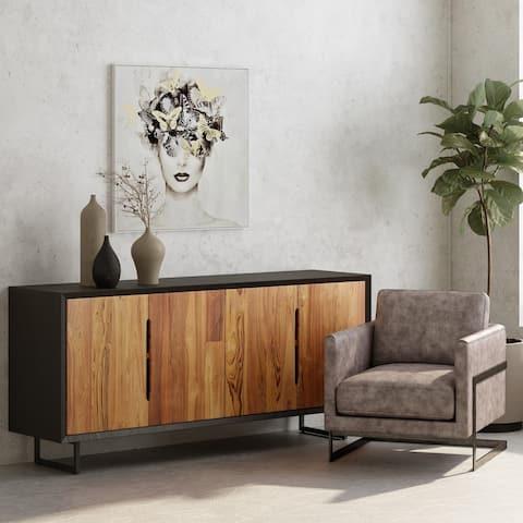 Aurelle Home Vidia Two-toned Reclaimed Teak Modern Sideboard