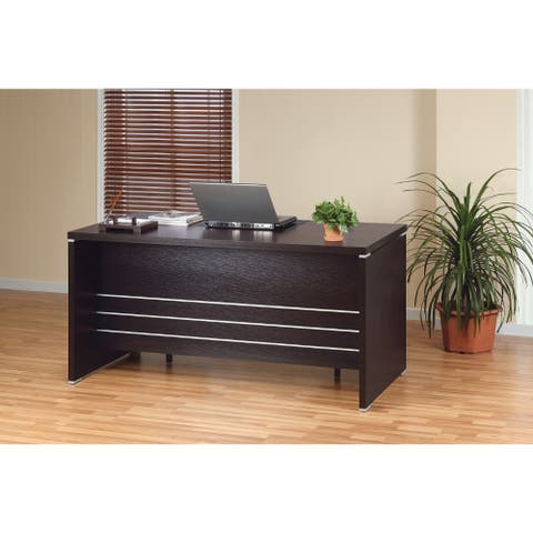 Contemporary Style Desk with 2 Locking File Drawers, Dark Brown
