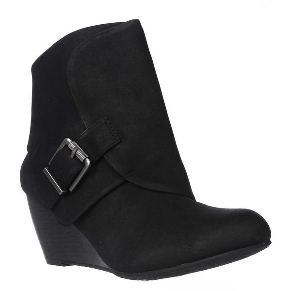 AR35 Coreene Cuffed Wedge Ankle Booties, Black
