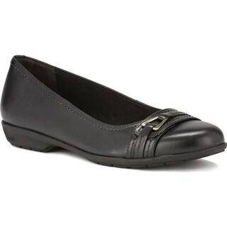 Walking Cradles Women's Flynn Ballet Flat Black Leather