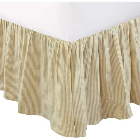 """Cozy Line Cream Farmhouse Ticking Cotton Bed Skirt Striped Ruffled Dust Ruffle, Tailored 16"""" Drop"""