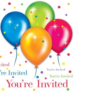 Invitation Card With Envelope 8 Pack Birthday Balloons - multi