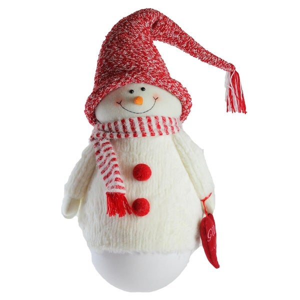 """37"""" Tumbling """"Sam the Snowman"""" with Red hat and Scarf Christmas Decoration - WHITE"""