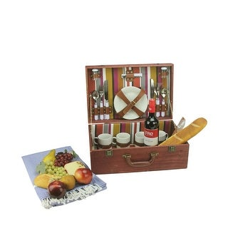 4-Person Hand Wooden Red Striped Picnic Basket Set with Accessories