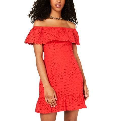 City Studio Womens Juniors Casual Dress Eyelet Ruffled - Red