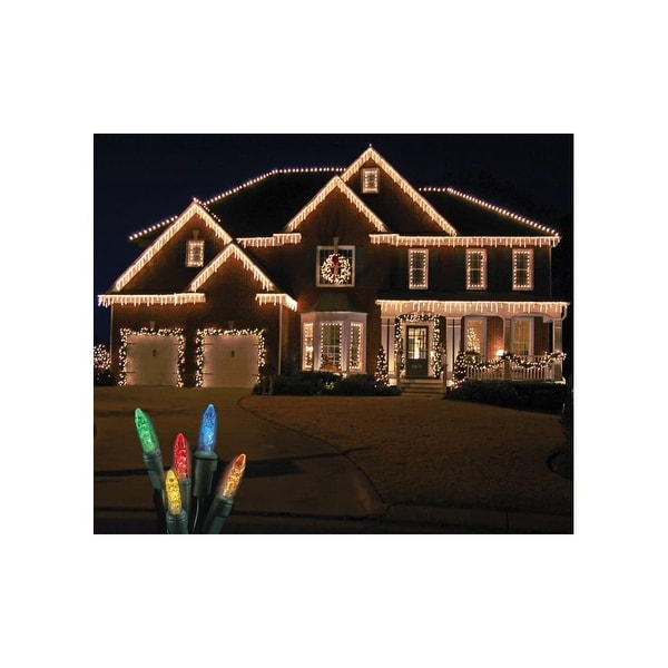 Christmas at Winterland S-ICM55M-IG Standard Icicle Lights M5 LED Multicolor Color Faceted 70 Lights Green Wire 22 Gauge - N/A