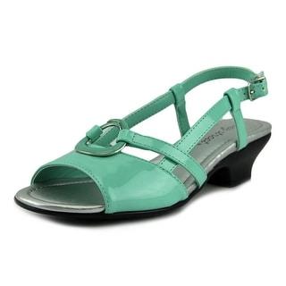 Easy Street Tempe Women W Open Toe Patent Leather Blue Sandals