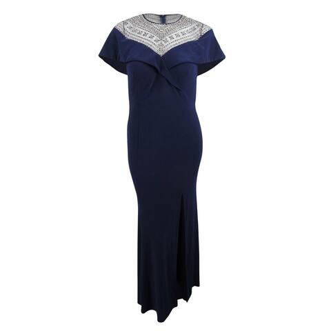 Xscape Women's Beaded Gown (16, Navy/Gunmetal) - Navy/Gunmetal - 16
