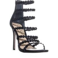 Jessica Simpson Jezalynn Strappy Zip Up Sandals, Black