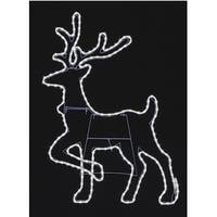 """38"""" Pure White LED Lighted Outdoor Deer Head Up Silhouette with Neon Flex Rope Lights"""