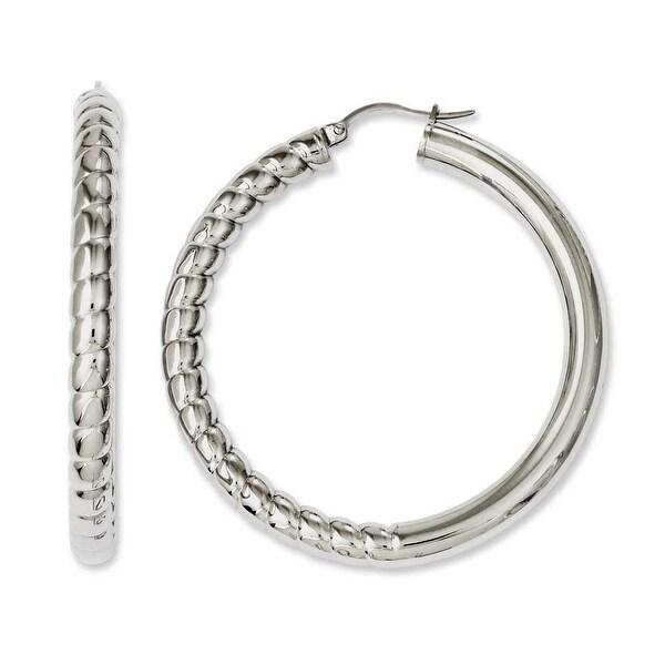 Chisel Stainless Steel Half Textured & Polished Hollow Hoop Earrings