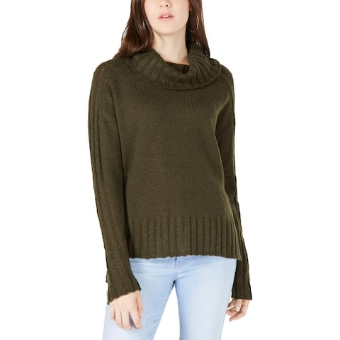 Hooked Up by IOT Womens Juniors Turtleneck Sweater Hi-Low Ribbed