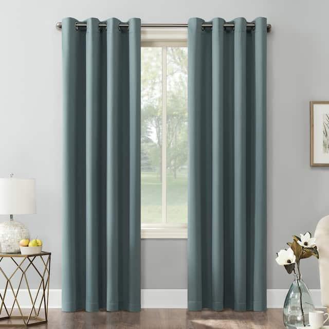 Sun Zero Hayden Energy Saving Blackout Grommet Curtain Panel, Single Panel - 54 x 108 - Mineral
