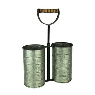 Rustic Galvanized Metal Double Wine Caddy with Wood Handle - 13.5 X 9.5 X 4 inches