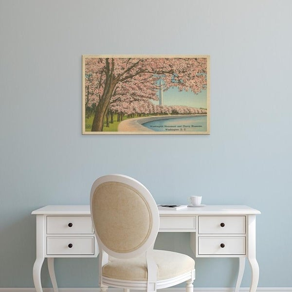 Easy Art Prints Unknown's 'Wash. Monument & Cherry Blossoms' Premium Canvas Art