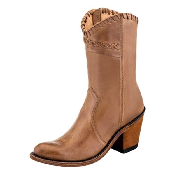 Old West Fashion Boots Womens Side Zipper Leather Tan Canyon