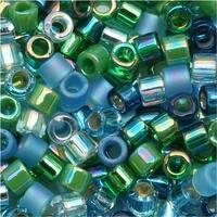 Miyuki Delica Seed Beads, 10/0 Size, 8 Grams, Mix Lagoon Blue Green