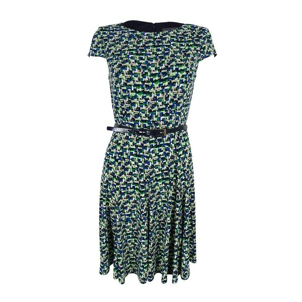 54130d4e959b3 Shop Jessica Howard Women's Printed Belted Fit & Flare Dress (16, Green  Multi) - Green Multi - 16 - Free Shipping Today - Overstock - 20295003