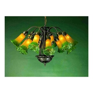 Meyda Tiffany 15997 Lilies 12 Light Single Tier Chandelier with Tiffany Stained Glass Shades - Amber Green