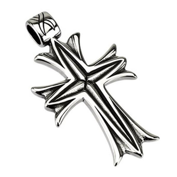 Stainless Steel Metalic Veil Cross Pendant (33 mm Width)