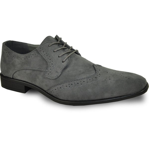 54186343927a9 Shop BRAVO Men Dress Shoe KING-3 Wingtip Oxford Shoe Grey - Wide ...