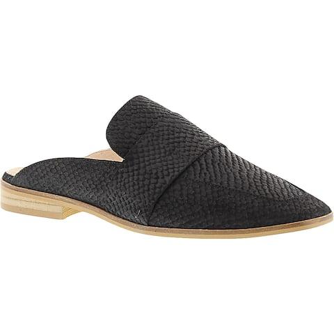 Free People Womens At Ease Loafer Mule Suede Crackle - Black - 40.5 Medium (B,M)