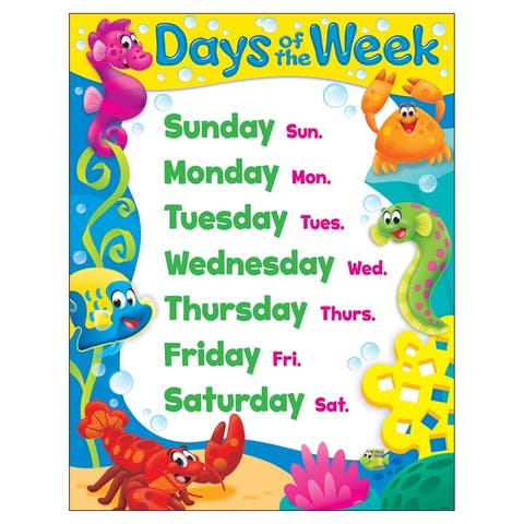 (6 Ea) Days Of The Week Sea Buddies Learning Chart