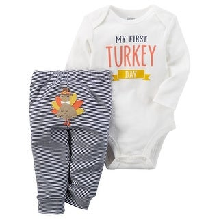 Carter's Baby Boys' 2-Piece Thanksgiving Bodysuit Pant Set, 12 Months - Gray/White