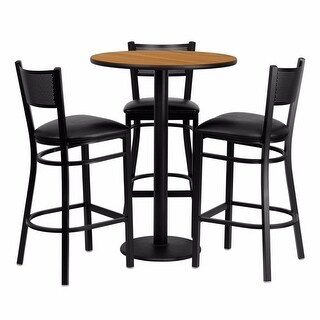 Offex 30'' Round Natural Laminate Table Set with Grid Back Metal Bar Stool and Black Vinyl Seat