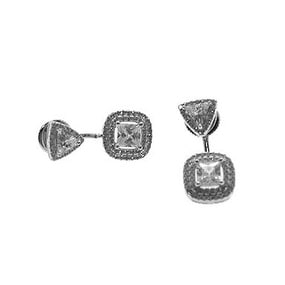 925 Sterling Silver Square Earjacket with Center Stone