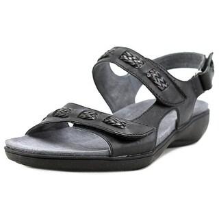 Trotters Kip Women W Open-Toe Leather Black Slingback Sandal