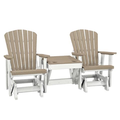 OS Home and Office Model 515WWWT-K Double Glider with Center Table in Weatherwood with a White Base