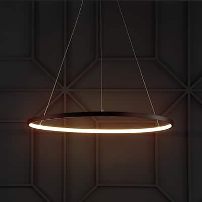 """Brice 23.7"""" Round Integrated LED Metal Chandelier, Matte Black by JONATHAN Y"""