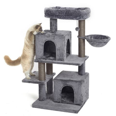 Merax 45 Inches Multi-Level Cat Tree with Posts, Dangling Ball, Hammock, and Condo - Grey