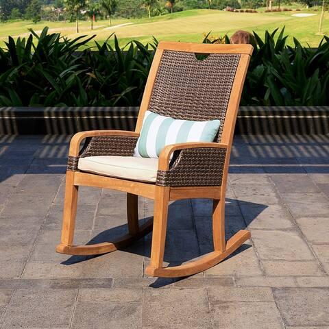Cambridge Casual Palma Teak Outdoor Rocking Chair with Cushion - FREE Lumbar Pillow