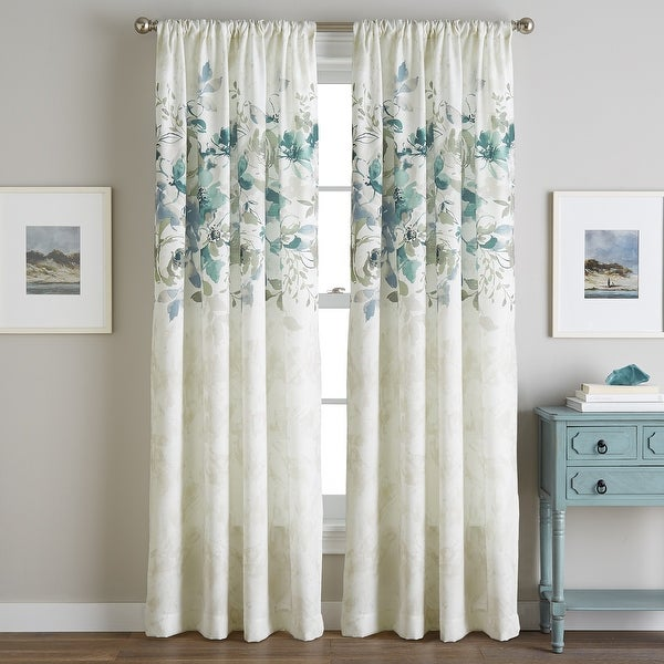 Watercolor Floral Flip Over Rod Pocket Single Curtain Panel. Opens flyout.