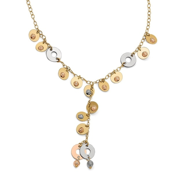 Italian 14k Tri-Color Gold Fancy Adjustable Necklace - 17 inches