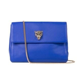 Cavalli Womens Cobalt Blue Tiger Head Gold Chain Shoulder Bag - S