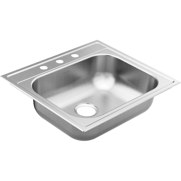 """Moen GS221963B 2200 Series 25"""" Drop In Single Basin Stainless Steel Kitchen Sink with SoundSHIELD Sound Absorbing Technology"""