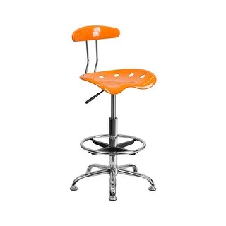 Offex Vibrant Orange and Chrome Drafting Stool with Tractor Seat [OF-LF-215-ORANGEYELLOW-GG]