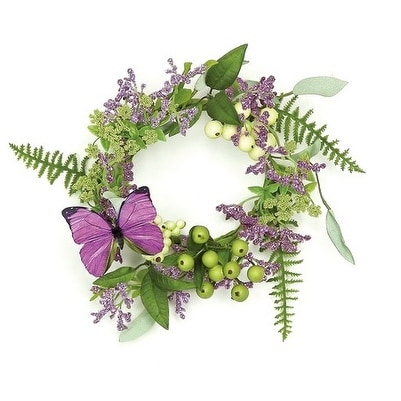 "11"" Decorative Purple and Green Mixed Berry and Butterfly Artificial Pillar Candle Ring"