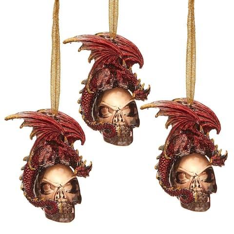 Design Toscano The Black Coal Dragon 2016 Holiday Ornament: Set of Three