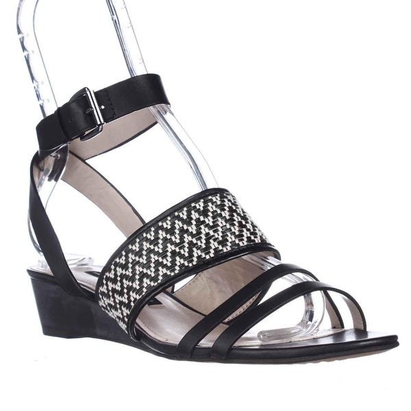 French Connection Wiley Ankle-Strap Sandals, Black/Black/White/Black