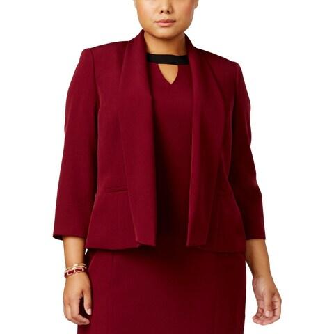Kasper Womens Plus Open-Front Blazer Shawl Collar Work Wear