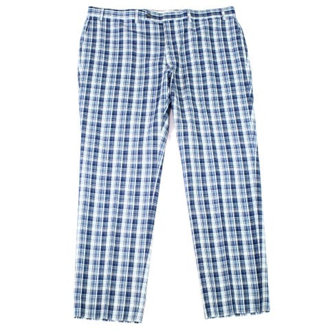 Lauren by Ralph Lauren Mens Pants Blue Size 42X32 Flat Front Plaid