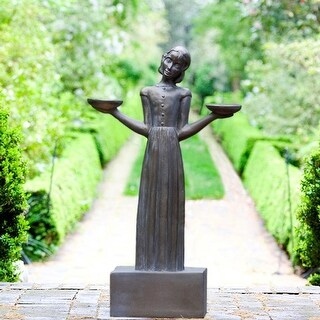 "Outdoor Garden Sculpture - Savannah's Bird Girl Statue (Medium - 28"")"