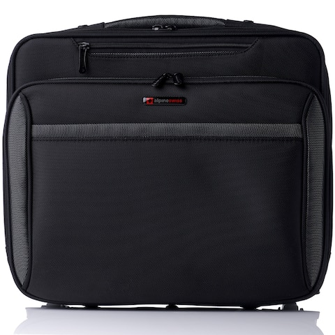 Alpine Swiss Rolling Laptop Briefcase Carry on Bag Up to 15.6 Laptop - Black - One Size