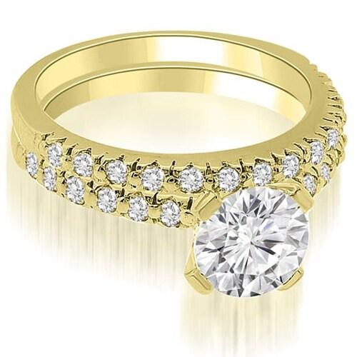 1.03 cttw. 14K Yellow Gold Round Cut Diamond Bridal Set