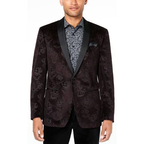 Tallia Mens Slim-Fit Floral Velvet Dinner Jacket 40 Regular Burgundy